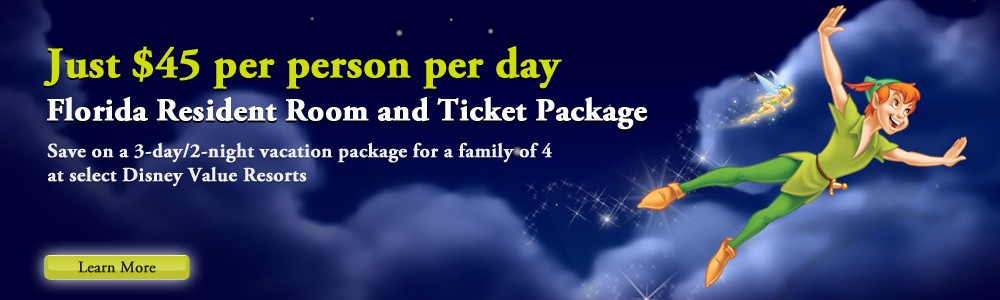 Peter Pan  Florida Resident Room and Ticket Package
